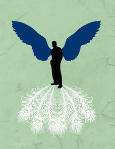 """Shailee's caption: """"This was supposed to be a simple poster. We have Milkman slouching behind a tattered sea green background. Robert Smith's blue wings extend from his back. They symbolize flight, yet the blue wings were worn by Smith as he committed suicide in his attempt to fly - the novel ends with Milkman leaping as well, though whether he flies like Solomon or falls like Smith is uncertain. At the same time, the white peacock feathers extend from his feet - perhaps they are a reflection, perhaps they are weighing him down. They symbolize vanity. In the book, Guitar remarks that the albino peacock they chased has """"Too much tail. All that jewelry weighs it down. Like vanity….wanna fly, you got to give up that s--- that weighs you down."""" In this way, the peacock feathers - and the vanity they symbolize, Milkman's vice - are weighing him down, preventing Milkman from flying."""""""